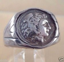 Greek Alexander  the Great Coin Sterling Silver  925 Men's  Ring skaisOCT15