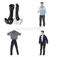 3 SETS Formal Suit T-shirt Pants Outfit Clothes shoes Boots for Barbie ken Doll