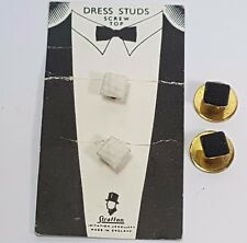 2 SETS OF VINTAGE STRATTON DRESS STUDS SHIRT BUTTONS - BLACK - WHITE - SCREW TOP