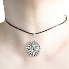 Sun Charm Pendant Choker Necklace with Black Cord