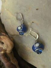 Silver tone Leverback Cobalt Blue Lampwork Evil Eye Glass Crystal  Earrings