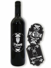6 x Assorted Fright Night Wine Bottle Labels Ideal Halloween Party Decoration