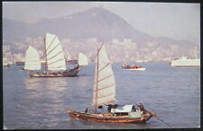CHINA ~ 1960's HONG KONG ~ Harbor View ~ JUNK BOATS~ TWA Postcard