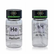 Helium gas 99,9% element 2 sample He in glass ampoule and vial + colored label