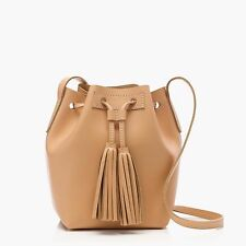 J Crew TASSEL TIE MINI BUCKET BAG IN LEATHER~natural vachetta~Brand new