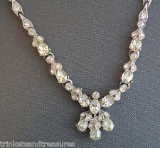 "Vintage Clear Rhinestone Necklace 17.5"" Signed BOGOFF Faux Diamonds"