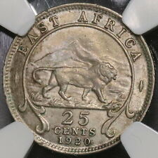 1920-H NGC AU 55 EAST AFRICA Rare Silver 25 Cents Lion Volcano  Coin (16103013C)
