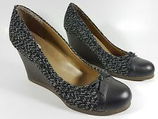 Scholl fabric and leather wedge heel shoes uk 7 eu 41