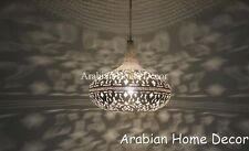 Middle Eastern Moroccan Silver Plated Brass Hanging Lamp Pendant Lighting