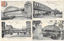 PARIS (75) chemin de fer métropolitain ensemble de 4 cartes ponts passerelle