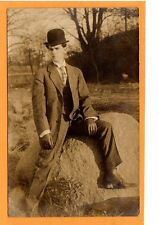 Real Photo Postcard RPPC - Dapper Man with Hat and Gloves on Rock Outdoors