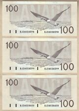 3 Sequential Serial# 1988 $100 Bank of Canada Bird Series Notes. BC60a-i  AU/UNC