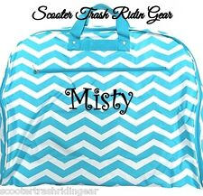 Personalized Garment Bag tote Aqua white chevron monogrammed dress bag hanging