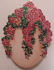 PINK ROSES ON VINE ELEGANT EGG GLITTER EASTER ORNAMENT VINTAGE CARD IMG HANDMADE