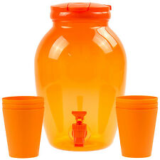 4 Litre Clear Orange Ice Cold Water Juice Beverage Tap Drink Dispenser With Cups