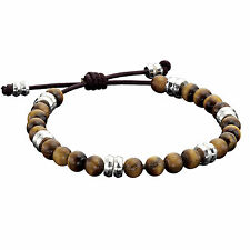 Fred Bennett Leather Bracelet with Tiger's Eye and Sterling Silver Beads - Men's