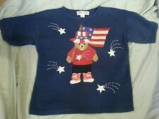 VTG American FLAG Teddy Bear sequin Sweater TOP Patriotic Medium M