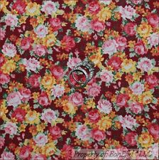 BonEful Fabric FQ Cotton Quilt Maroon Yellow Pink Red VTG Flower Antique Calico