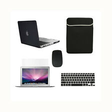 "5 in 1 BLACK Rubberized Case fr Macbook Pro 13"" A1425 Retina+Key+LCD+BAG+MOUSE"