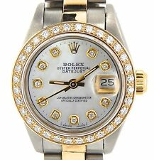 Rolex Datejust Lady 2Tone 18K Gold Steel Watch w/ White MOP Dial & Diamond Bezel