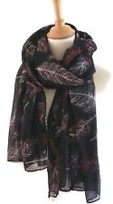 Classy Black White Red  Pink Feather Print Pashmina Scarf Wrap Oversize New Gift