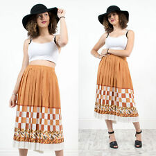 WOMENS VINTAGE 80'S BEIGE STRIPED ABSTRACT PATTERN MIDI LENGTH PLEATED SKIRT 16