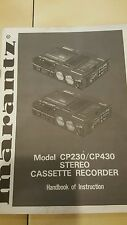 Marantz Model CP230 CP430 Stereo Cassette   Recorder Instruction Manual