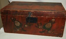 Antique Primitive Hand Painted Wood Folk Art Chest Trunk Box