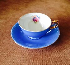 BEAUTIFUL BLUE M&R PORCELAIN FOOTED DEMI CUP AND SAUCER-FRANCE
