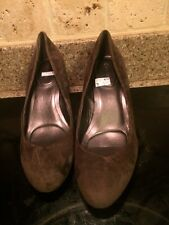 Calvin Klein Brown Suede Leather Wedge Heels Women's Shoes Size 10 Spectacular !