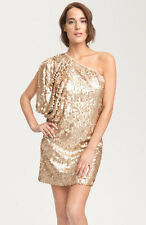 AIDAN MATTOX: Gold Aidan By Matte Sequin One Shoulder Dress - Sz 4 NWT