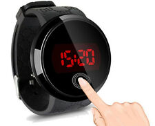 Fashion Waterproof Men's LED Touch Screen Day Date Silicone Wrist Watch Black