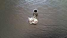 Cat Silver Plated Dangle Charm Bead For European Bracelets/Necklaces