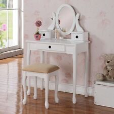2 Pcs Queen Anne Dainty White Wood 3 Drawer Oval Mirror Make Up Table Vanity Set