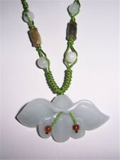 Large Beaded Chain Delicately Carved Wide Jade Orchid Flower Pendant Necklace