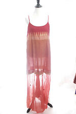 The TERRITORY AHEAD Red Ethnic Embroidery BoHo Hippy Maxi TUNIC Gilet DRESS M