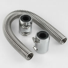 "Car 24""Stainless Steel Chrome Radiator Flex Coolant Hose Kit With Caps/Radiator"