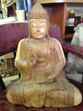 Buddha Chinese Statue Old Hand Carved Antique Tibet Wood Figure Buddhism Tibetan