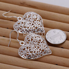 2pcs Fashion Earrings Silver Plated Heart Studs Dangle Earrings For Gifts FR