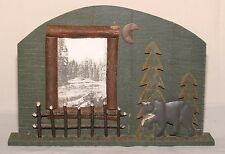 Rustic Log Hunting Fishing Lodge Cabin Picture Photo Frame Wood