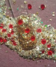 GLitter Mix Acrylic Gel Nail Art  RUBY'S and GOLD  Christmas mix Limited Edition