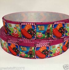 "7/8"" Candy Crush Printed Grosgrain Ribbon Hairbows-USA Seller 1yd"