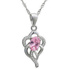 "Sterling Silver, White & Pink CZ Pendant Necklace, 17.5"" Extension Chain"