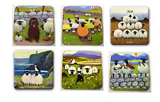 Thomas Joseph Set of 6 Coasters Drink Mats Set 3 Fun Cute Sheep Design