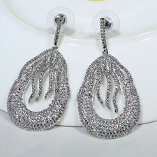18K White Gold Filled Clear CZ Fashion Jewelry Luxury Dangle Earrings E4851A