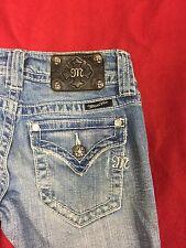 MISS ME Distressed Boot Cut Flap Pocket Jeans W/Rhinestones JP4009BT Size 26 GUC