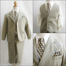 Well tailored Boy Khaki/ivory pinstripe wedding formal 5 pc party suit size 8