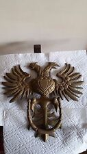 "Vintage (Freemason maybe) Double Headed Eagle Brass Door Knocker 12"" x 12.5"""