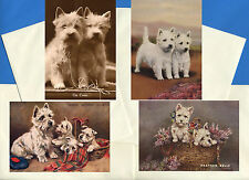 WESTIE TERRIER PACK OF 4 VINTAGE STYLE DOG PRINT GREETINGS NOTE CARDS #1