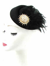 Black Gold Ivory Feather Pillbox Hat Fascinator Vintage Hair 1940s Headpiece 534